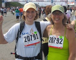Dona Crawford (left) and her sister Gail (right) having just finished running/walking Bay to Breakers