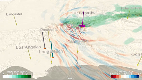 An image from an animation of wave propagation during a magnitude-7.8 earthquake rupturing the San Andreas Fault from northeast to southwest. Red-blue colors reflect the intensity of shaking; green colors indicate areas of permanent ground deformation.  Simulation by Daniel Roten, Kim Olsen, and Steven Day at the Department of Geological Sciences at San Diego State University, and Yifeng Cui at the San Diego Supercomputer Center. Visualization by Daniel Roten (SDSU). Simulation on UIUC Blue Waters.