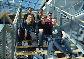 Team PhiClub of Technical University of Munich (TUM), Germany: Back, from left: Stefan Haas, David Schneller, and Svilen Stefanov. Front, from left: Sharru Møller, Maximilian Hornung, and Jan Schuchardt