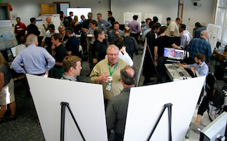 A Technology Marketplace held April 6 during the X-Stack at Berkeley Lab meeting gave application developers the opportunity to demo the software prototypes.