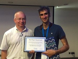 Wahid Bhimji (right) accepted the award on behalf of the NERSC team that authored the paper.